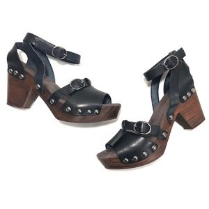 Free People Black Leather Wooden Open-Toe Clogs